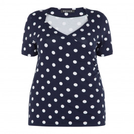 BEIGE LABEL CROSS-OVER POLKA DOT TOP NAVY - Plus Size Collection