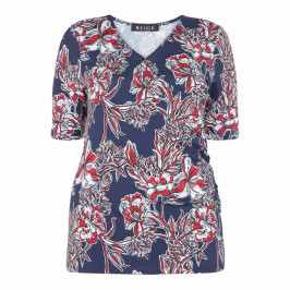 BEIGE LABEL CROSS-OVER FLORAL PRINT TOP NAVY - Plus Size Collection