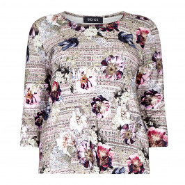 BEIGE Label ROUND NecK FLORAL PRinT TOP - Plus Size Collection