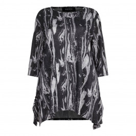 BEIGE label grey abstract print TOP - Plus Size Collection