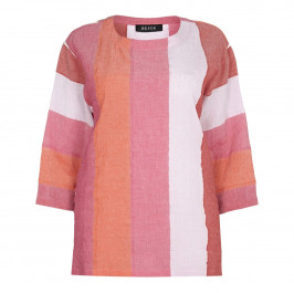 BEIGE label pink and orange stripe linen mix TOP - Plus Size Collection