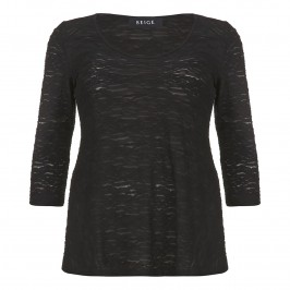 Beige semi sheer burnout top - black - Plus Size Collection