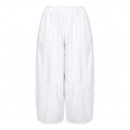 BEIGE LABEL WHITE COTTON TROUSER ELASTICATED WAIST  - Plus Size Collection