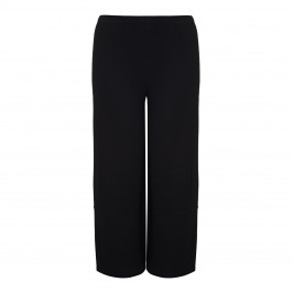 BEIGE BLACK WIDE LEG JERSEY PULL ON TROUSERS - Plus Size Collection
