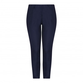 BEIGE LABEL PULL ON ANKLE GRAZER TROUSER NAVY - Plus Size Collection