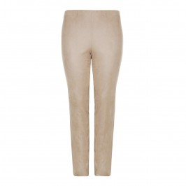 BEIGE CRACKLE EFFECT PULL ON TROUSERS IN TRUFFLE - Plus Size Collection