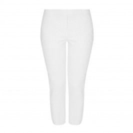 BEIGE LABEL JACQUARD PULL ON TROUSER WHITE - Plus Size Collection