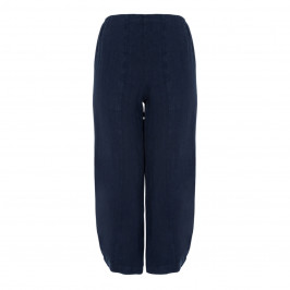 BEIGE LABEL CROPPED BUBBLE HEM PULL ON LINEN TROUSER IN NAVY - Plus Size Collection