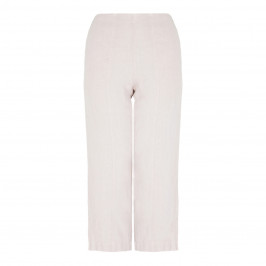 BEIGE WIDE LEG PULL ON LINEN TROUSER - Plus Size Collection