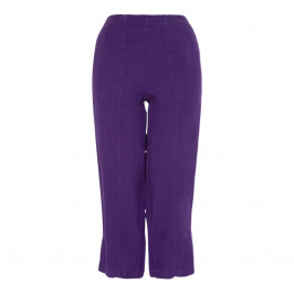 BEIGE LABEL WIDE LEG PULL ON LINEN TROUSER PURPLE - Plus Size Collection