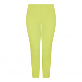 BEIGE LABEL THREE-QUARTER LENGTH TROUSERS WITH ZIPS LIME - Plus Size Collection