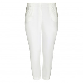 BEIGE LABEL PULL ON THREE-QUARTER TROUSER WHITE - Plus Size Collection