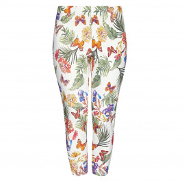 BEIGE PULL ON TROPICAL PRINT CROPPED TROUSERS - Plus Size Collection
