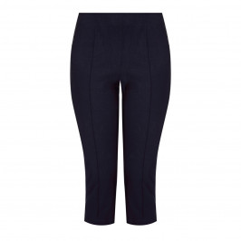 BEIGE PULL ON CROPPED TROUSER NAVY - Plus Size Collection