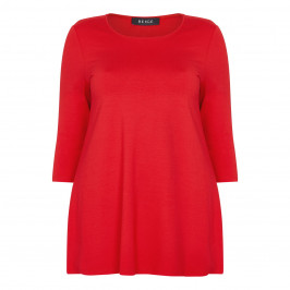 BEIGE LABEL RED ROUND NECK TUNIC - Plus Size Collection