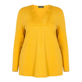 BEIGE LABEL STRETCH JERSEY V-NECK TUNIC YELLOW - Plus Size Collection