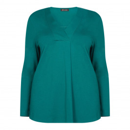 BEIGE LABEL STRETCH JERSEY V-NECK TUNIC TEAL - Plus Size Collection