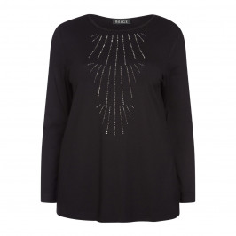 BEIGE LABEL BLACK TUNIC WITH EMBELLISHMENT - Plus Size Collection