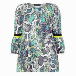 BEIGE SNAKESKIN PRINT TUNIC GREEN - Plus Size Collection