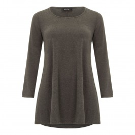 Beige flared long sleeve tunic - charcoal - Plus Size Collection