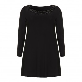 BLACK TUNIC WITH EMBELLISHED NECKLINE BY BEIGE