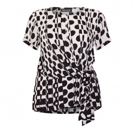 BEIGE LABEL TUNIC WITH WAIST TIE DETAIL BLACK AND WHITE - Plus Size Collection