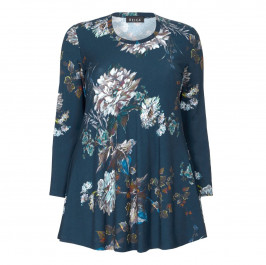 BEIGE LABEL FLORAL PRINT TUNIC TEAL - Plus Size Collection