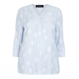 BEIGE LABEL PALE BLUE TUNIC WHITE APPLIQUE FLOWER - Plus Size Collection