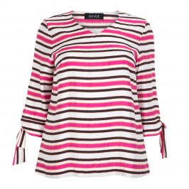 BEIGE LABEL STRIPE TUNIC TIE CUFF - Plus Size Collection