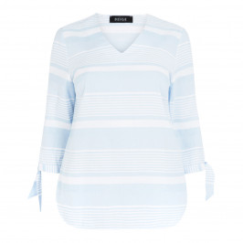 BEIGE LABEL PALE BLUE STRIPE TUNIC TIE CUFF - Plus Size Collection
