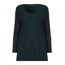BEIGE RIB TEXTURE JERSEY TUNIC IN FOREST GREEN - Plus Size Collection