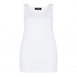 BEIGE LABEL LONG VEST SCOOP NECK WHITE - Plus Size Collection