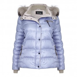 BEIGE FUR TRIMMED PUFFA COAT IN SKY BLUE - Plus Size Collection