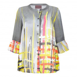 BEIGE LABEL PRINT GREY TRUMPET SLEEVE SHIRT  - Plus Size Collection