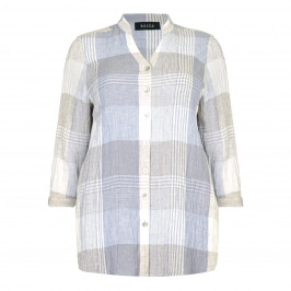 BEIGE label blue check cheesecloth linen SHIRT - Plus Size Collection