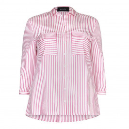BEIGE label pink striped SHIRT with front pockets - Plus Size Collection