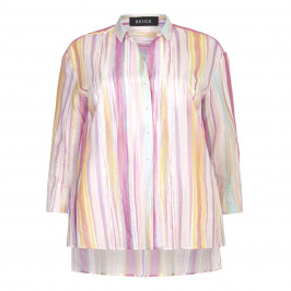 Beige label pink candy stripe cotton SHIRT - Plus Size Collection