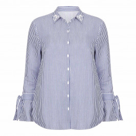 BEIGE LABEL STRIPE SHIRT WITH PEARL COLLAR - Plus Size Collection