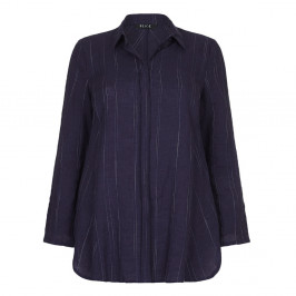 BEIGE label navy pinstripe linen SHIRT - Plus Size Collection