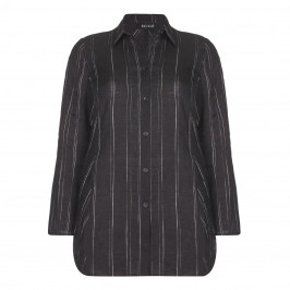 BEIGE label black pinstripe linen SHIRT - Plus Size Collection