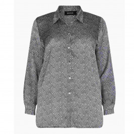 BEIGE LABEL MONOCHROME SHIRT WITH GEOMETRIC PRINT  - Plus Size Collection