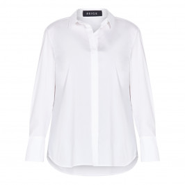 BEIGE LABEL COTTON BLEND SHIRT WHITE - Plus Size Collection