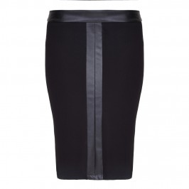 Beige pencil SKIRT with eco-leather inserts - Plus Size Collection