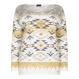 BEIGE embellished Aztec print SWEATER - Plus Size Collection