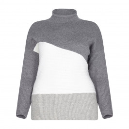 BEIGE LABEL GREY MELANGE SWEATER WITH COLOUR BLOCK DETAIL - Plus Size Collection