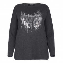 BEIGE LABEL ANTHRACITE SWEATER WITH METALLIC SEQUINS - Plus Size Collection