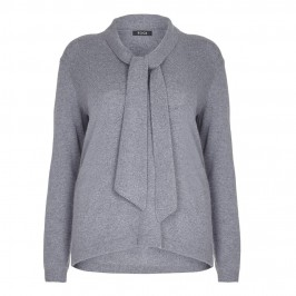 BEIGE pussy bow SWEATER in grey - Plus Size Collection