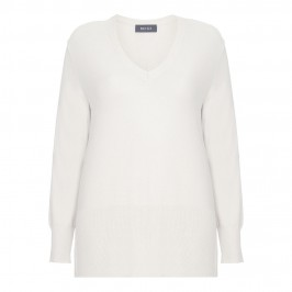 BEIGE DEEP V-NECK RIB DETAIL SWEATER IN CREAM - Plus Size Collection