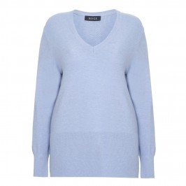 BEIGE V-NECK SWEATER WITH RIB DETAIL IN SKY BLUE - Plus Size Collection