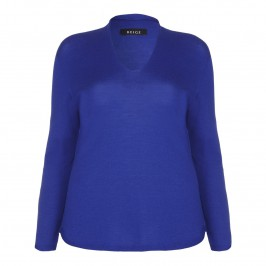 BEIGE v-neck wool SWEATER in royal blue - Plus Size Collection